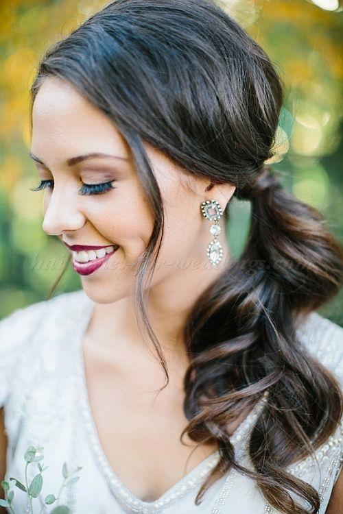ponytail hairstyles - wavy side ponytail bridal