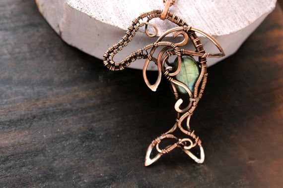 Blue Labradorite necklace Beach Wedding jewelry Wire wrapped seahose pendant