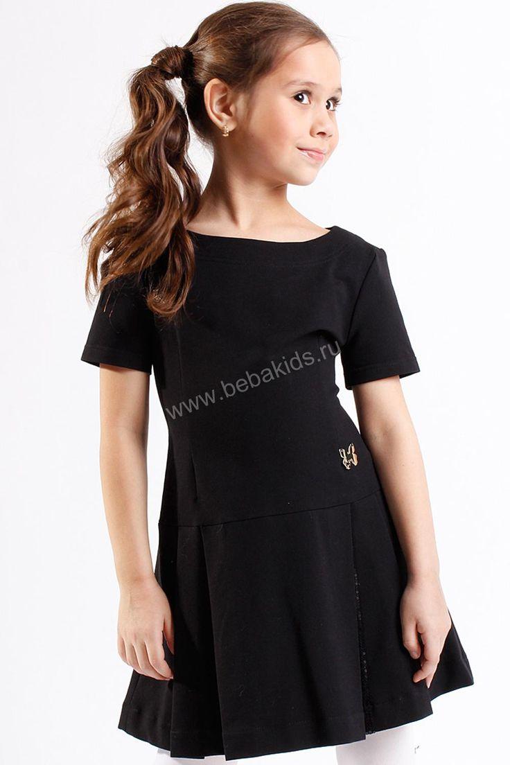 """Платье школьное """"Складка с паетками"""" для девочки 29526-019 чёрный Noble People"""