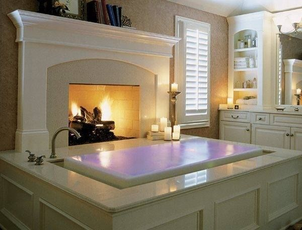 Overflow tub with fireplace - Now this I could relax in!