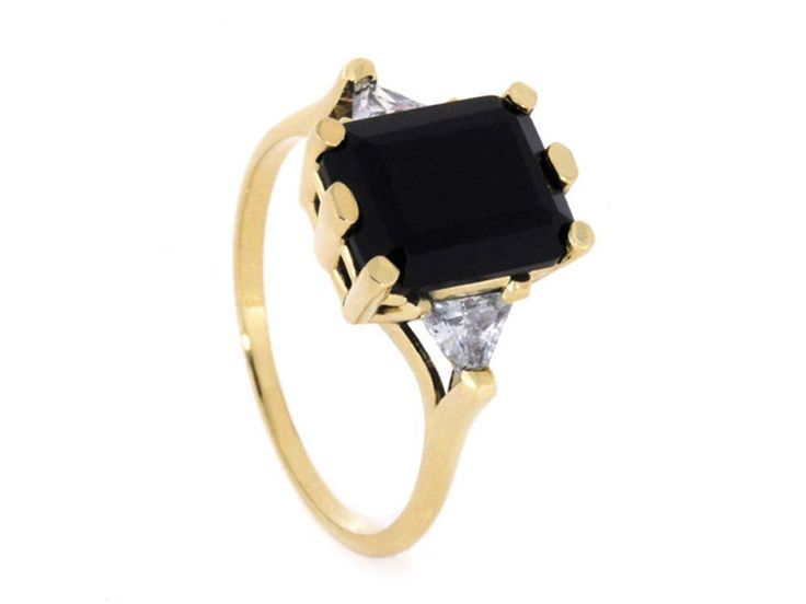 Yellow Gold Onyx Engagement Ring, Vintage Style Gold Engagement Ring, 10k Yellow Gold Rings for Her, JewelrybyJohan by jewelrybyjohan on Etsy https://www.etsy.com/listing/268051454/yellow-gold-onyx-engagement-ring-vintage