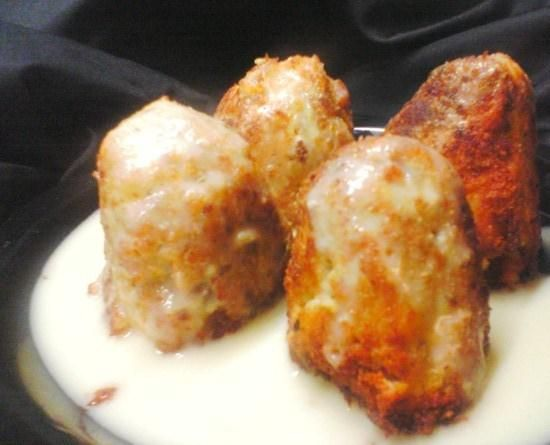 Easy Chicken Croquettes from Food.com:  								Our Oh-so-yummy and EZ-to-make croquettes! These are great for OAMC too. The croquettes freeze well, then just pop them in the microwave for a quick meal or snack. Does not include 3 hr chill time. Cone shape is traditional for croquettes, but I have made patty shaped ones that are just as wonderful. Try adding some chopped mushrooms too. Thanksgiving leftovers?.. Try Bird's Thanksgiving Leftover Croquettes ;)