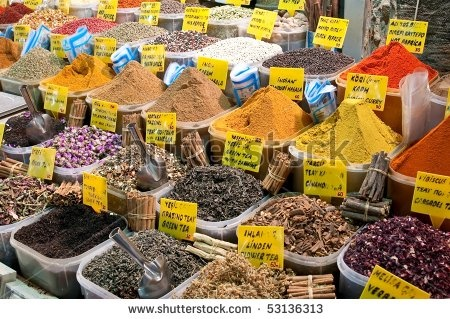 Spices at marketplace Istanbul, Turkey