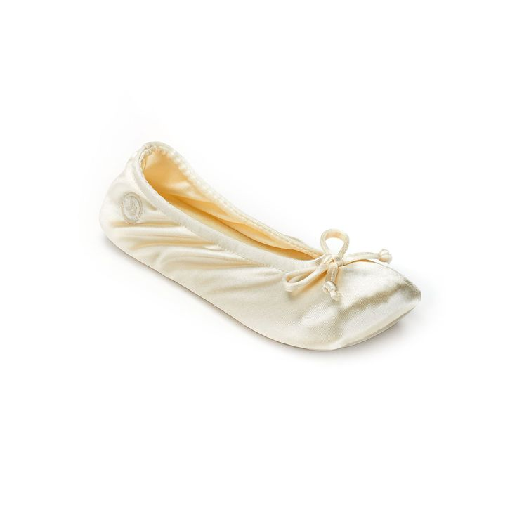 Isotoner Women's Satin Ballerina Slippers, Size: Medium, Lt Beige