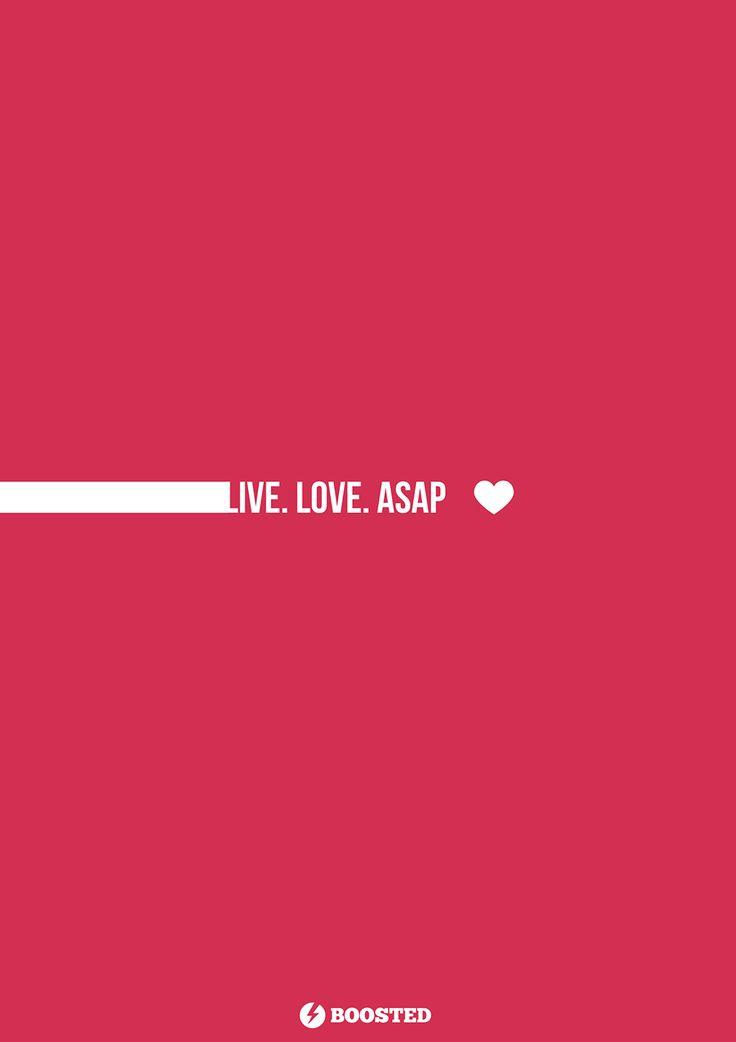 Motivační plakát Žij. Miluj. Co nejdříve (Anglicky)