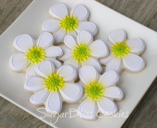 SugarBliss Cookies - summer daisy cookies these can be with navy blue pansie looking flower