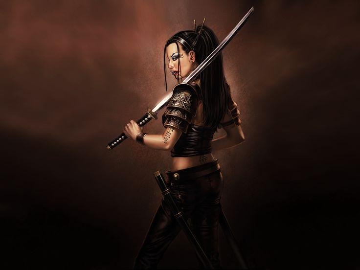 Anime ninja girl with sword wallpaper beautiful body art - Girl with sword wallpaper ...