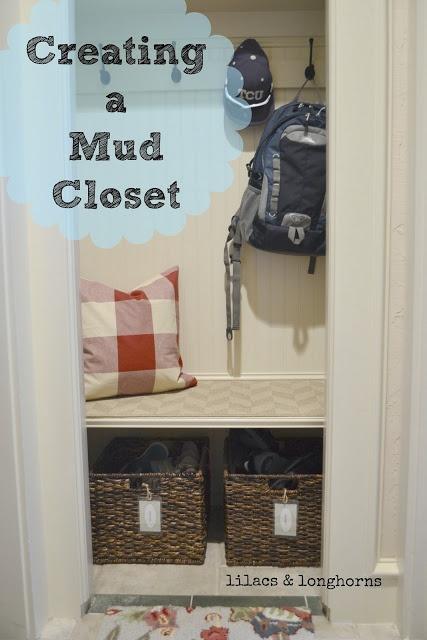 "Turn a small closet into a ""mud closet"" where kids can sit"