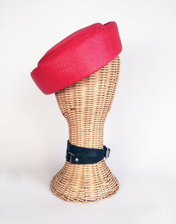 Red Pillbox Hat Faux Straw Hat Red Nautical Hat by trashedbytime