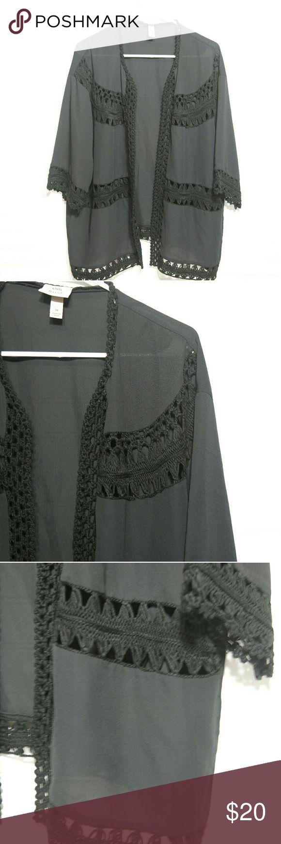 Knox Rose Women's Kimono Black Medium Preloved Black Kimono! Beautiful! Size Medium!  Approximate Length 26.5- Width 24 C9 knox rose Tops