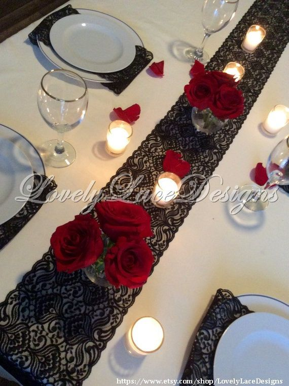 Noir chemin de Table dentelle 12ft-20 pi x 7 par LovelyLaceDesigns