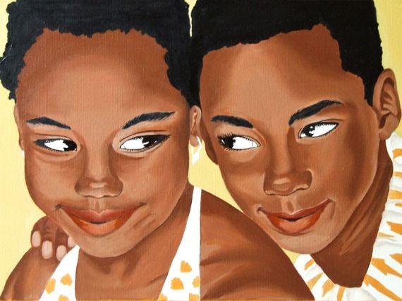 """Tableau encadré portrait d'enfants intitulé """"complicité fraternelle"""",peinture à l'huile sur toile de lin"""