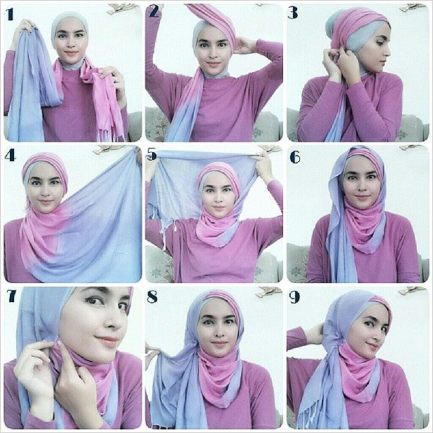 #hijabtutorialbyzahra 1. Letakkan shawl di bahu, satu sisi jauh lebih panjang 2. Sisi yg pendek putar ke atas kepala 3. Sematkan ujungnya dengan jarum pentul 4. Ambil sisi yg panjang, bawa ke depan dada 5. Lalu teruskan ke atas kepala 6. Kira2 seperti ini bentuknya 7. Bagian yg tergerai amankan dengan jarum pentul supaya rapih 8. Ambil sedikit bagian yg tegerai 9. Lalu sematkan di belakang leher, selesaiii :)
