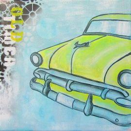 Stoer auto schilderij voor de jongenskamer van een gele oldtimer. Het schilderij is handgeschilderd met acrylverf en bewerkt met graffiti.