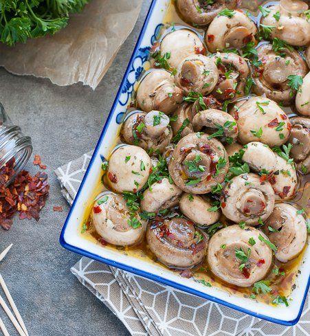 Champignons marinées, recette express