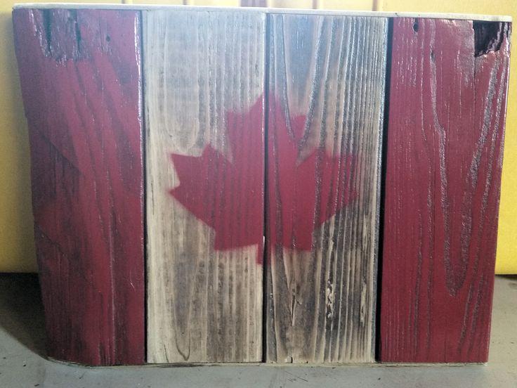Canada flag made from reclaimed wood www.philwilliamsart.com www.facebook.com/philwilliamsartist