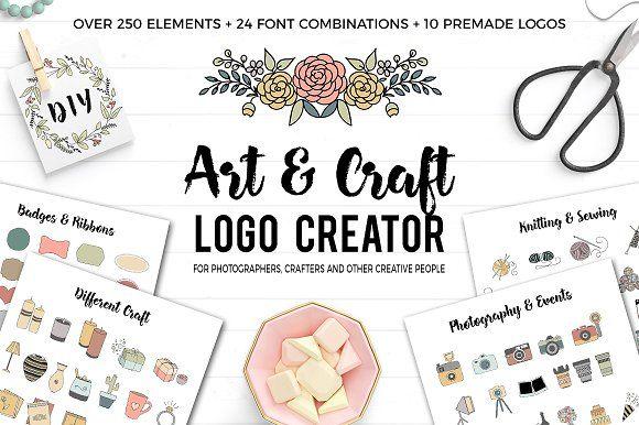 Art and Craft Logo Creator by Switzergirl on @creativemarket