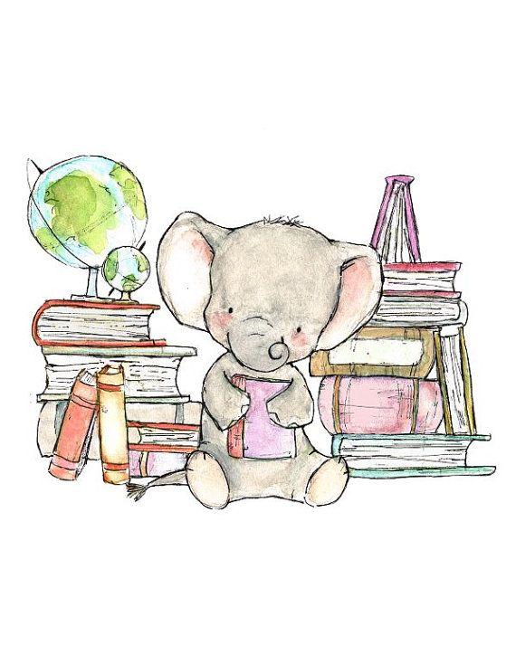 Childrens Art--Elefante libresca--impresión del arte