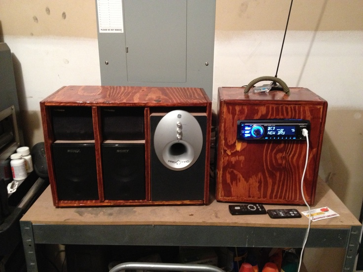 Garage stereo, repurposed car stereo, wood working