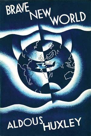 Brave New World, by Aldous Huxley. Chatto & Windus, London, 1932. Cover design by Leslie Holland. http://www.pc-freak.net/images/BraveNewWorld_FirstEdition.jpg