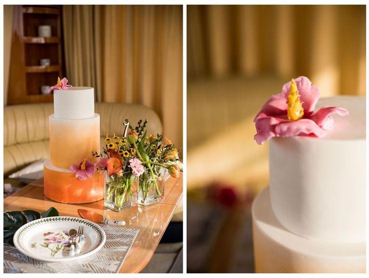 "The stunning sunshine inspired cake from our Paradise Romance shoot featured on @brideclubme ���� العارضة تس روزان في فستان من تصميم دانتيل هوت كوتور ""مرجان"" فستان زفاف من قطعتين في جلسة تصوير من تصميم ايفنتاريو  Make-up and styling by @ememakeupartist and @lavedetteqatar Model @tess.roozen Dresses @dentelle_haute_couture. Wedding cake made by @tasmeem Tropical Chinaware @tavolashop Floral design @theflowershopqatar Yacht charter @veniceyacht Chocolates & flower gifts @nisantasi.qatar Photos…"