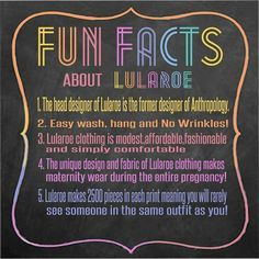 Did anybody know these Fun Facts about LuLaRoe? These clothes are really for all ages and stages of life! So awesome! https://www.facebook.com/groups/lularoeohmyglam/