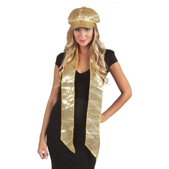 Glitter & Glamour themafeest: Sjaal met gouden pailletten. Deze sjaal met gouden pailletten heeft een formaat van ongeveer 170 x 9 cm.