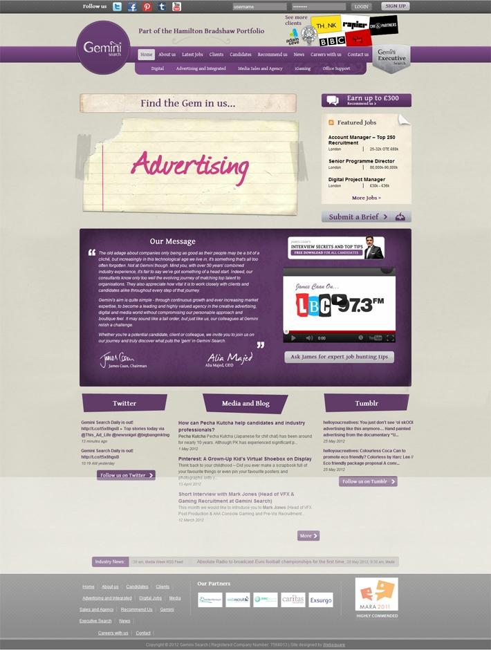Gemini Search Website  www.gemini-search.co.uk #design #development