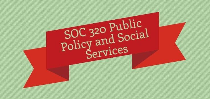 SOC 320 Public Policy and Social Services Week 1 Assignment Case Study, Katrina and Public Policy Discussion 1, New Federalism Discussion 2, Bias  Week 2 Assignment Case Study Discussion 1, Policy making in the U.S. Discussion 2, Not-for-profit Organizations  Week 3 Assignment Research Paper Outline Discussion 1, Policy Analysis Discussion 2, Social Security  Week 4 Discussion 1, Welfare Policy Discussion 2, Environmental Management Week 5 Assignment Final Paper Discussion 1, Environmental