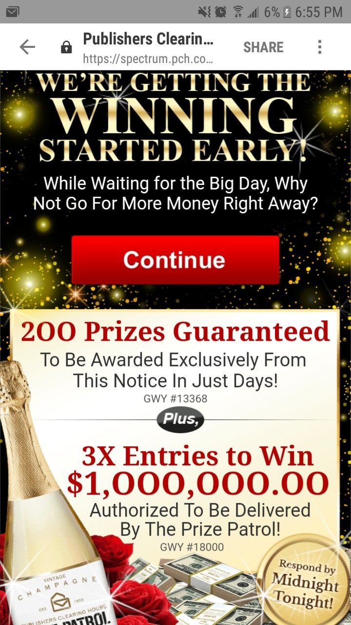 PCH VIP ELITE I RROJAS CLAIM MY 3X Entries To Win $1,000,000 00 & My
