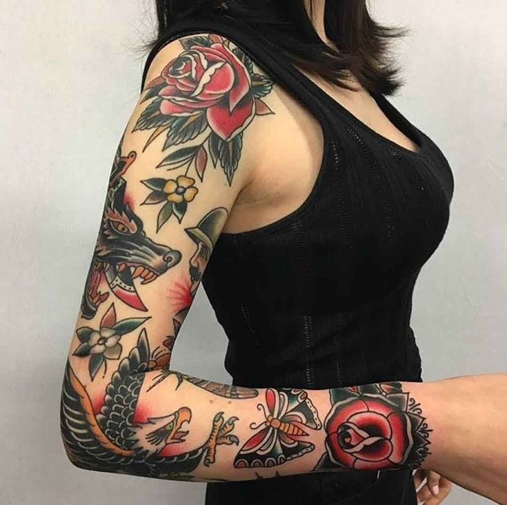 full sleeve traditional tattoo ** but I want mine with purple and blue accents #TraditionalTattoos #sleevetattoos