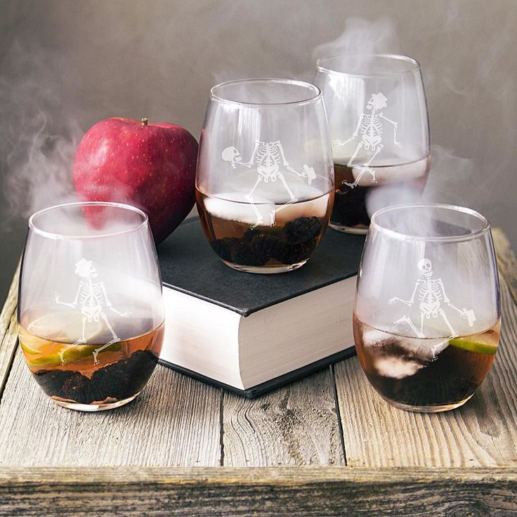 The perfect barware for #Halloween! Buy a set of your own by shopping the link in our bio. #hayneedlehome . . . . . . #halloweendecorations #skeleton #wine #barware #cathysconcepts #wineglasses #halloweenideas