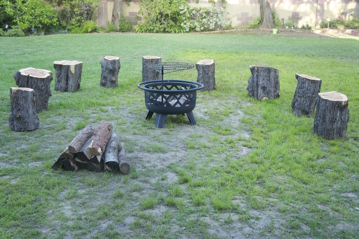 Under The Pepper Tree - Cut down tree turned into seating and firewood for campfire birthday party theme.