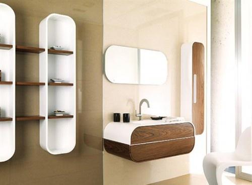 Wood Front, Wall Mounted Vanity - www.remodelworks.comModern Bathroom Design, Decor Bathroom, Bathroom Remodeling, Bathroom Ideas, Bathroom Interiors Design, Bathroom Shower, Bathroom Decor, Bathroom Shelves, Design Bathroom