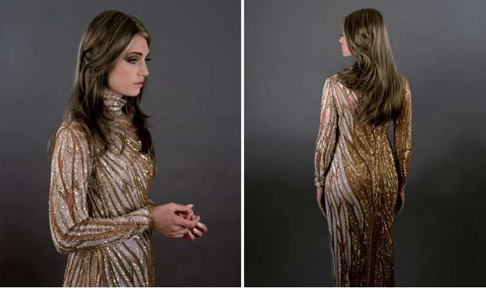 Female Study (gold), 2007, diptych, two lightjet prints. By Yvonne Todd