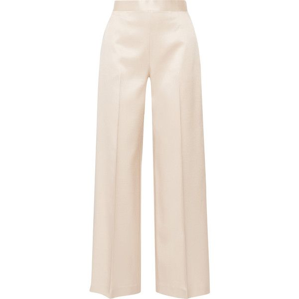 The Row Selip silk and wool-blend shantung wide-leg pants (€925) ❤ liked on Polyvore featuring pants, bottoms, trousers, calças, jeans, beige, high-waisted pants, high-waisted trousers, silk pants and pink wide leg trousers