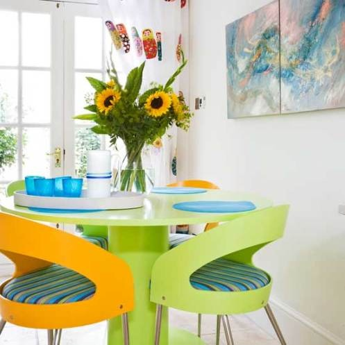 A Hi Gloss Dining Table And White Walls Transforms This Room Into Contemporary Airy Space Zesty Color Is Added With Vibrant Chairs
