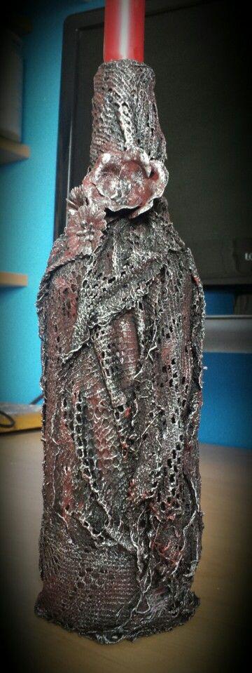 Fabric Art - Bottle by Heather's Craft Studio using Powertex and acrylic paints.