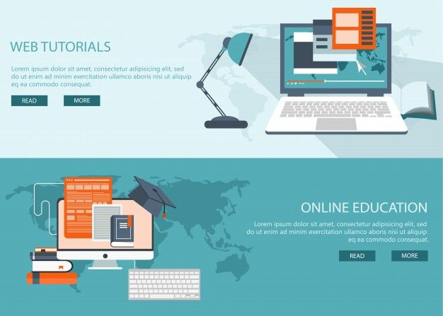 Study and education background banners Free Vector
