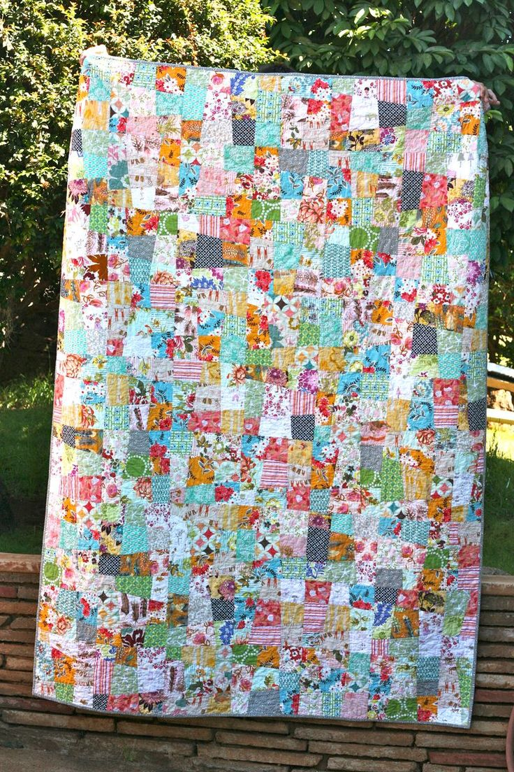 "Couldn't hit the ""Pin it"" button fast enough on this one!  Crazy 9-patch quilt by One Shabby Chick.  I want to drink this quilt!"