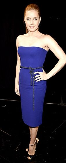 Amy Adams: In cobalt blue dress by #Gucci