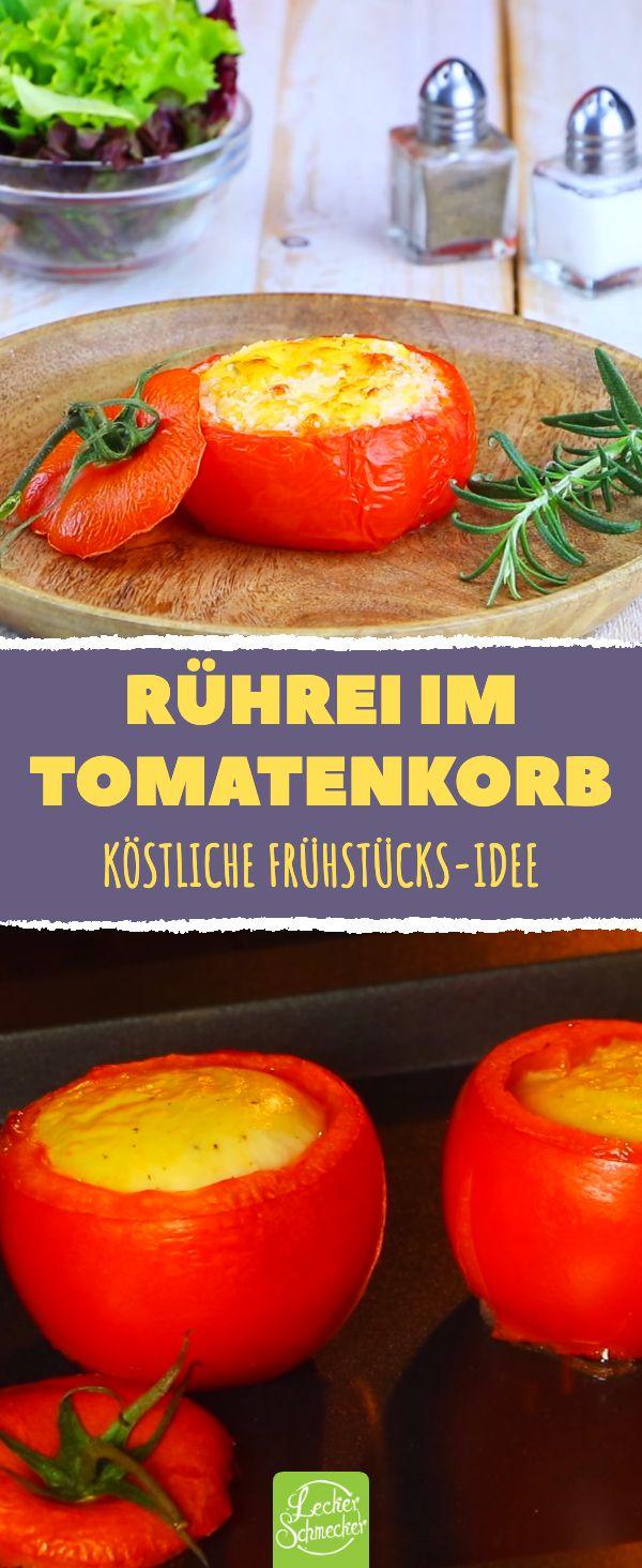 Rührei in der Tomate serviert – ein Rezept, das Frühstück ebenso lecker i …
