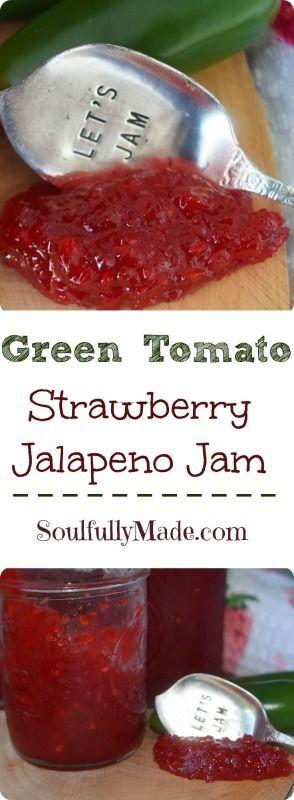 Happy First Day of April!  Since April is National Florida Tomato Month and I live in Florida, I thought I would start the month off with a Green Tomato Strawberry Jalapeño Jam.