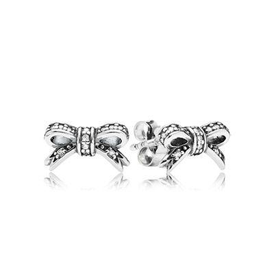 Срібні сережки-бантики, куб. оксид цирконію