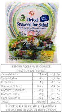 Algas marinhas secas wakame kombu p/ salada 20g