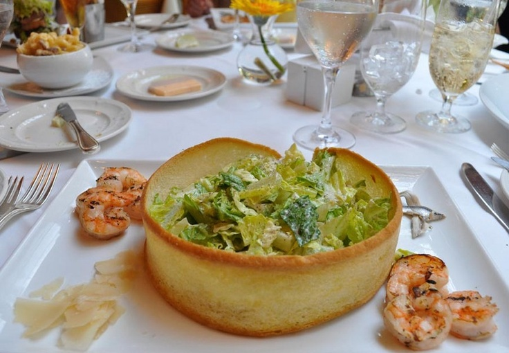 Caesar salad at Palmetto Cafe within Orient Express Hotel's Charleston Place in Charleston, SC.
