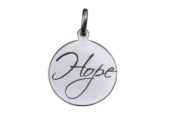 Sterling Silver 16mm *hope* Pendant