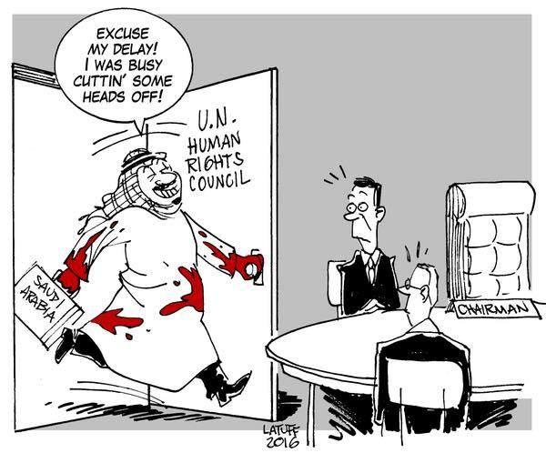 Předseda Rady OSN pro Lidská práva (Saudská Arábie): promiňte drobné zpoždění, musel jsem zařídit pár poprav stětím...