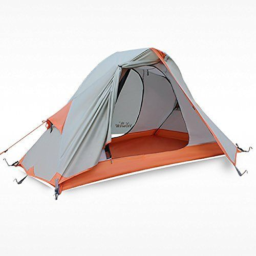 Hewolf Outdoor Waterproof 4 Seasons 1 Man Tent for Trekking Riding Hiking Camping Travel Khaki *** Want to know more, click on the image.