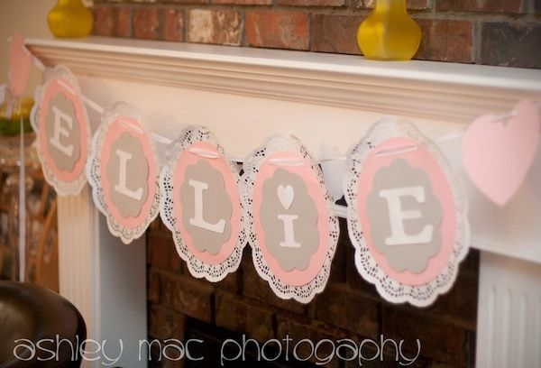 Pink Elephant 1st Birthday Party - Doilie Circle Ribbon Banner